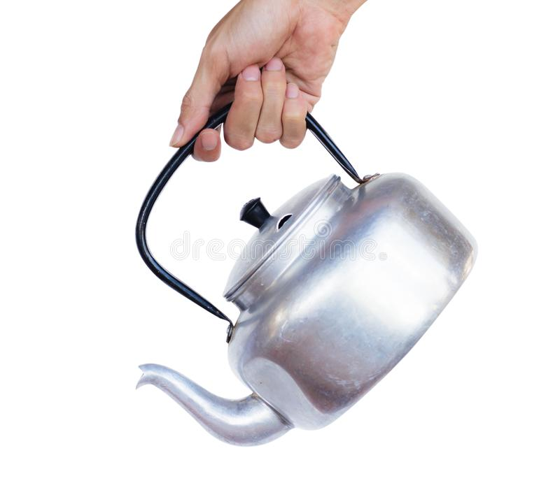 Hand holding Kettle pot isolated on white background with clipping path. stock images