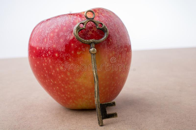 Hand holding a key beside an apple stock images