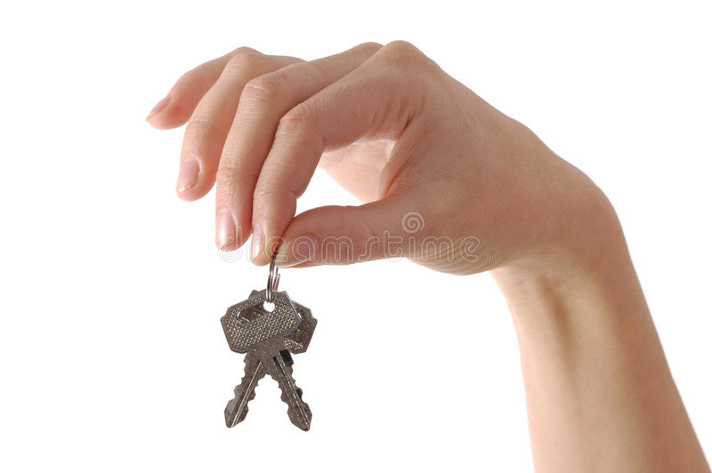 Hand holding keys stock photos