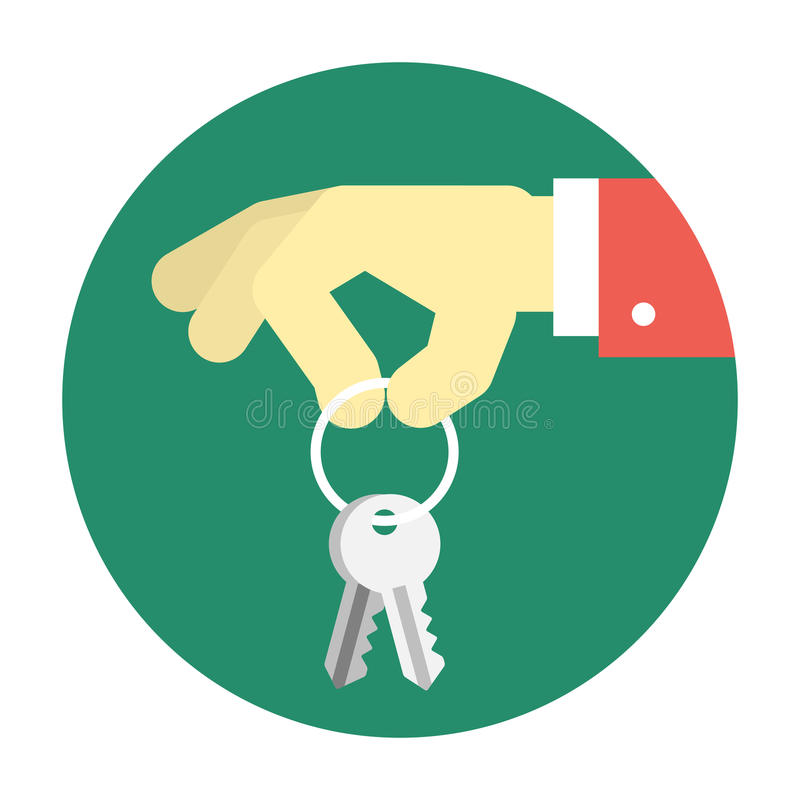 Hand holding keys. Real estate vector illustration stock illustration