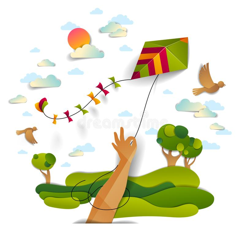 Free Hand Holding Kite Over Cloudy Sky Birds Flying And Sun, Meadows And Trees Scenic Nature Landscape, Freedom And Easiness Emotional Royalty Free Stock Photos - 138775908
