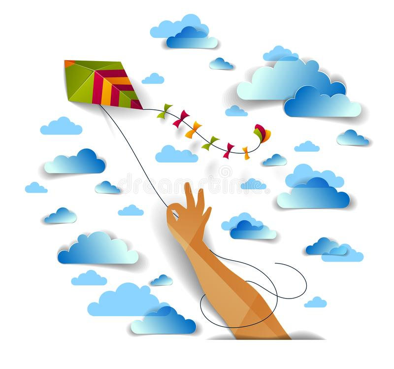 Free Hand Holding Kite Over Cloudy Sky, Freedom And Easiness Emotional Concept. Stock Photo - 138778730