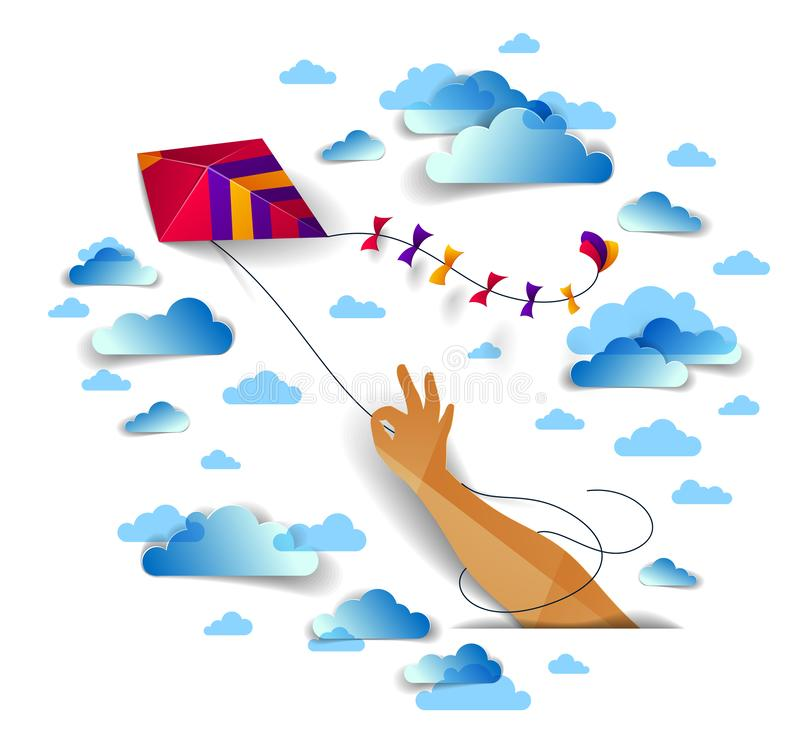 Free Hand Holding Kite Over Cloudy Sky, Freedom And Easiness Emotional Concept, Vector Modern Style Paper Cut 3d Illustration. Royalty Free Stock Photos - 130338328