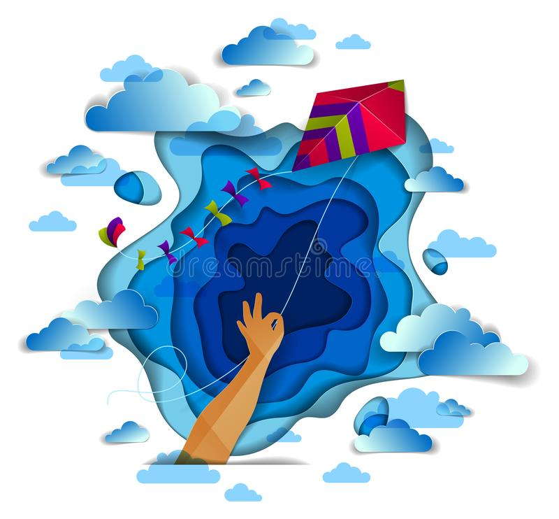 Hand holding kite over cloudy sky, freedom and easiness emotional concept. Hand holding kite over cloudy sky, freedom and easiness emotional concept, vector royalty free illustration