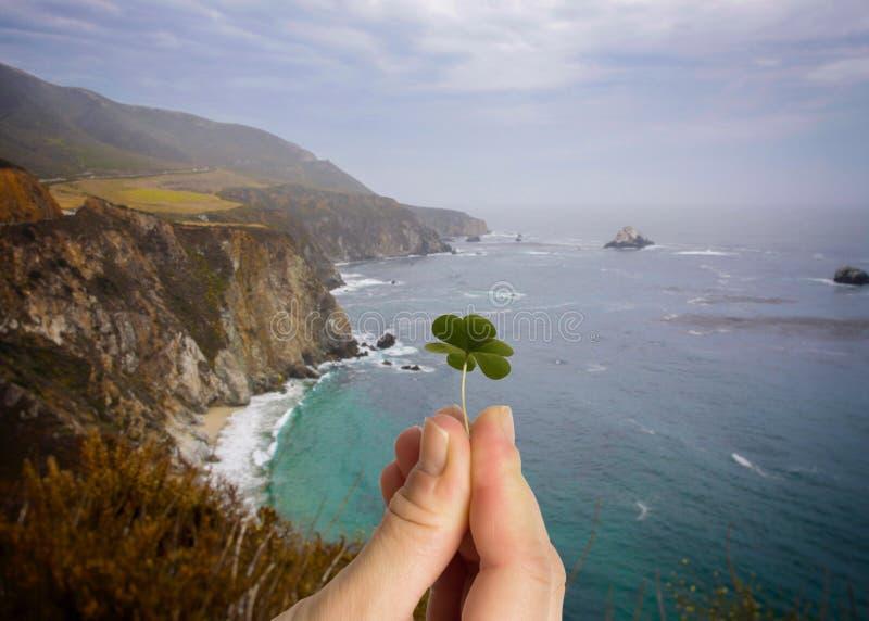 Hand holding leaf clover. Irish cliffs background. Good luck background. Hand holding leaf clover. Irish cliffs background royalty free stock image