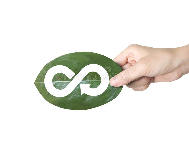 Hand holding leaf with hole of arrow infinity, circular economy. Concept of supply technologies for green Eco-friendly and circular economy, female hand holding stock photography