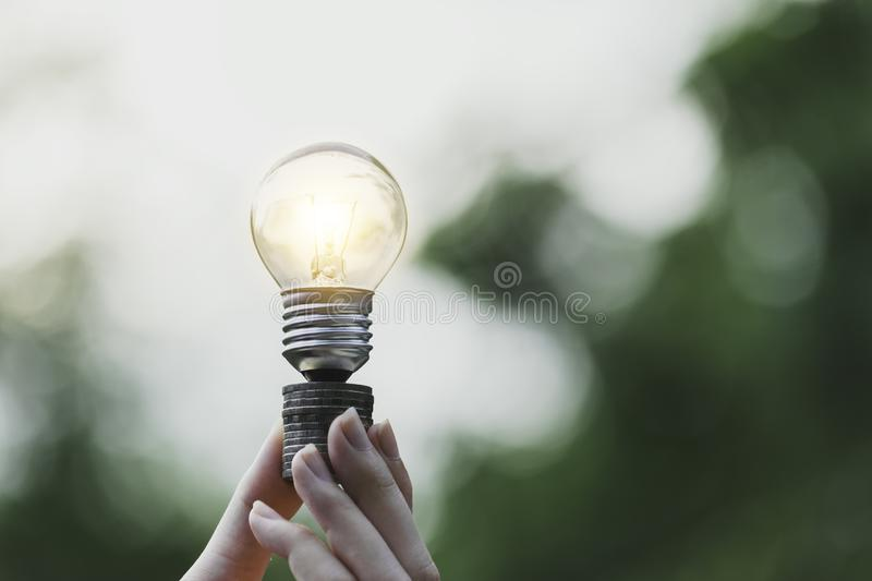 Hand holding light bulb in garden green nature background royalty free stock photo