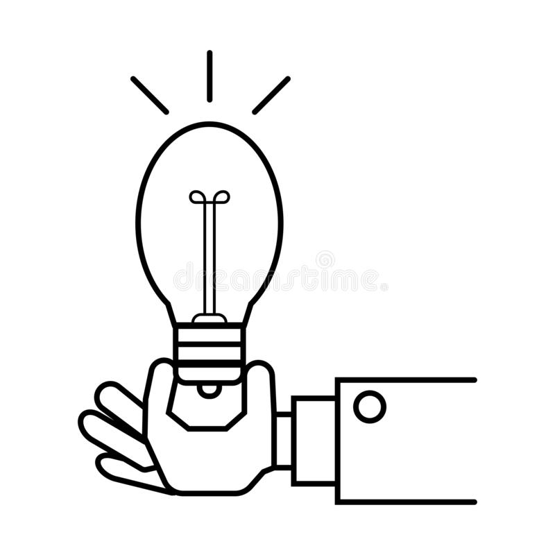 Hand holding light bulb sign stock illustration