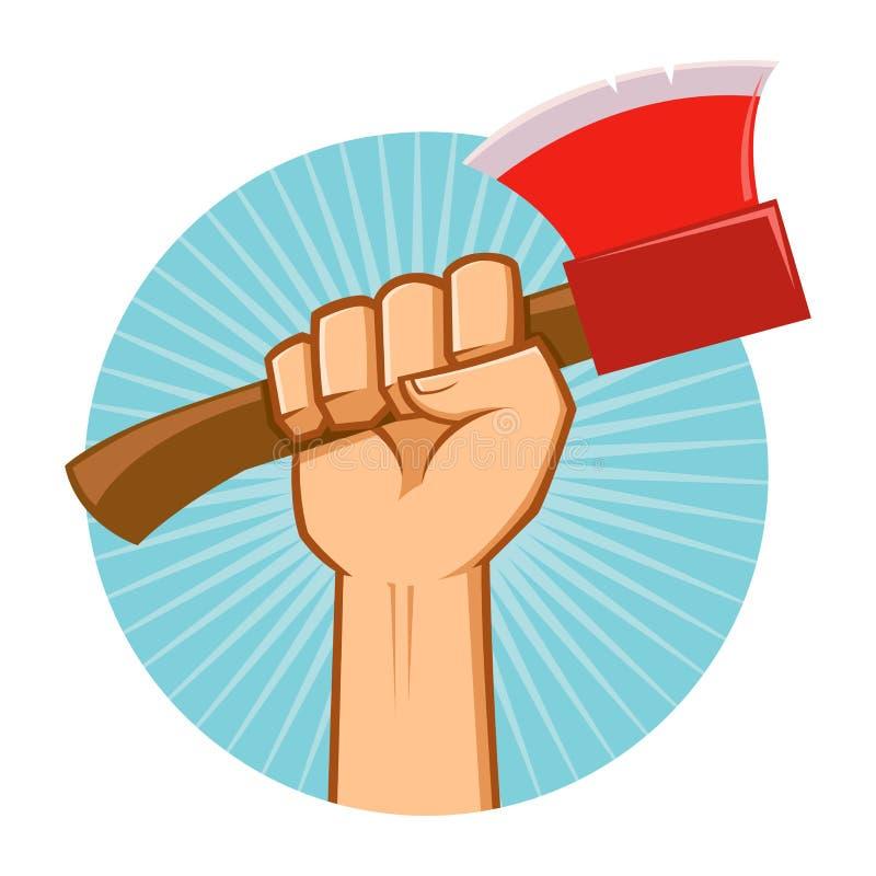 Hand Holding Lumber Axe stock illustration