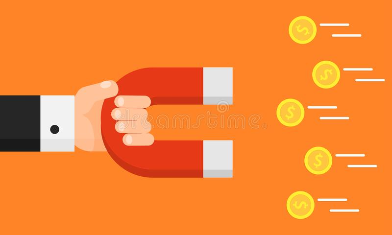 Hand holding magnet. Attraction money. Businessman. Flat style. Earn money royalty free illustration