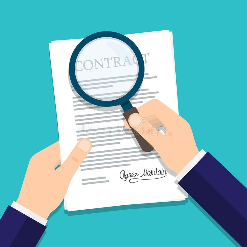 Hand holding magnifying glass over a contract vector illustration