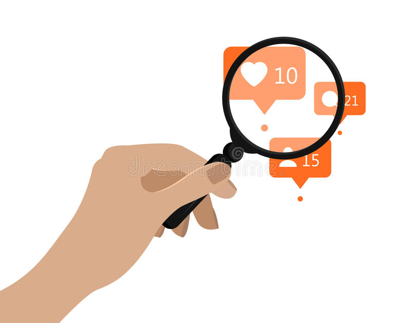 Hand holding magnifying glass. Vector illustration. Social media analytics concept. Orange notification icons under vector illustration