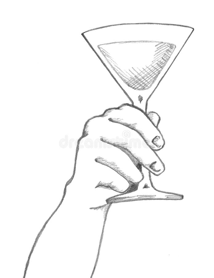 Hand Holding Martini Glass royalty free stock images
