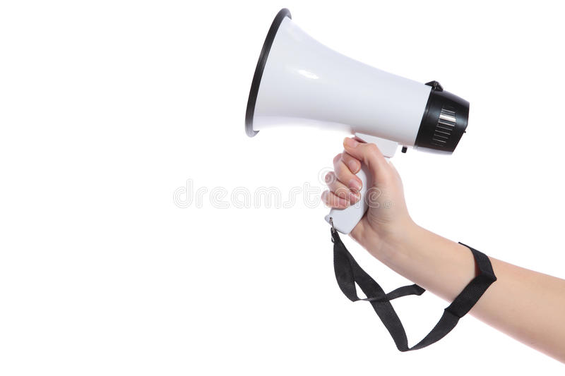 Hand holding megaphone royalty free stock images
