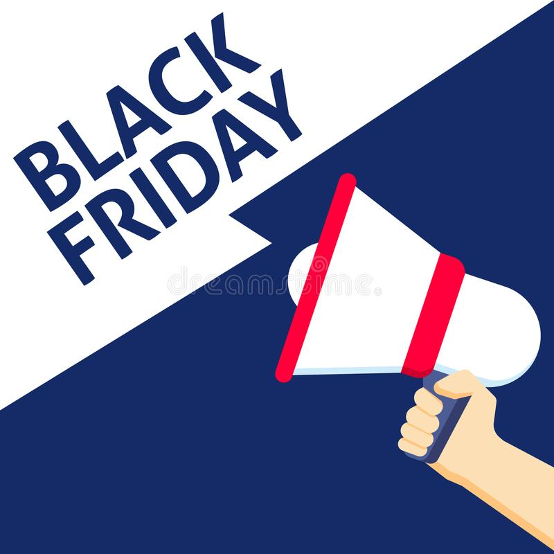Hand Holding Megaphone With BLACK FRIDAY Announcement royalty free illustration