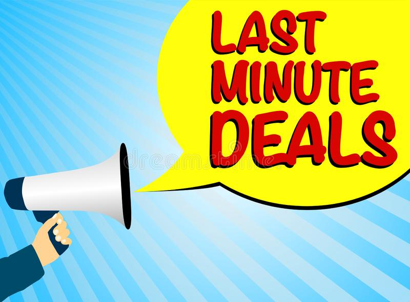 Hand holding megaphone or bullhorn against blue background with speech bubble and text LAST MINUTE DEALS royalty free illustration