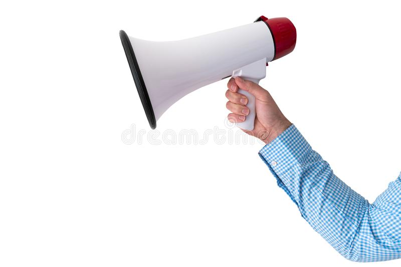 Hand holding megaphone or bullhorn isolated on white. Background stock photography