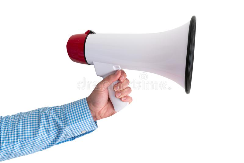 Hand holding megaphone or bullhorn isolated on white. Background royalty free stock photography