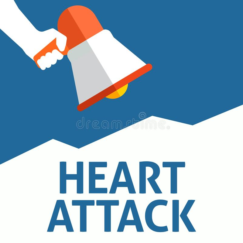 Hand Holding Megaphone With HEART ATTACK Announcement stock illustration