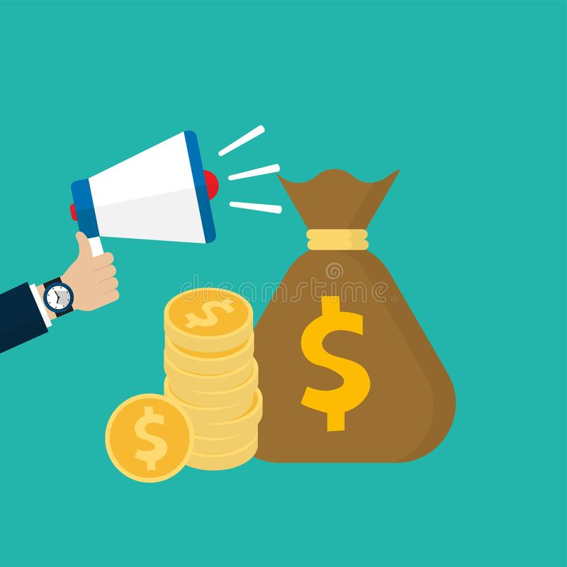 Hand holding megaphone with stack of coin and money bag vector illustration
