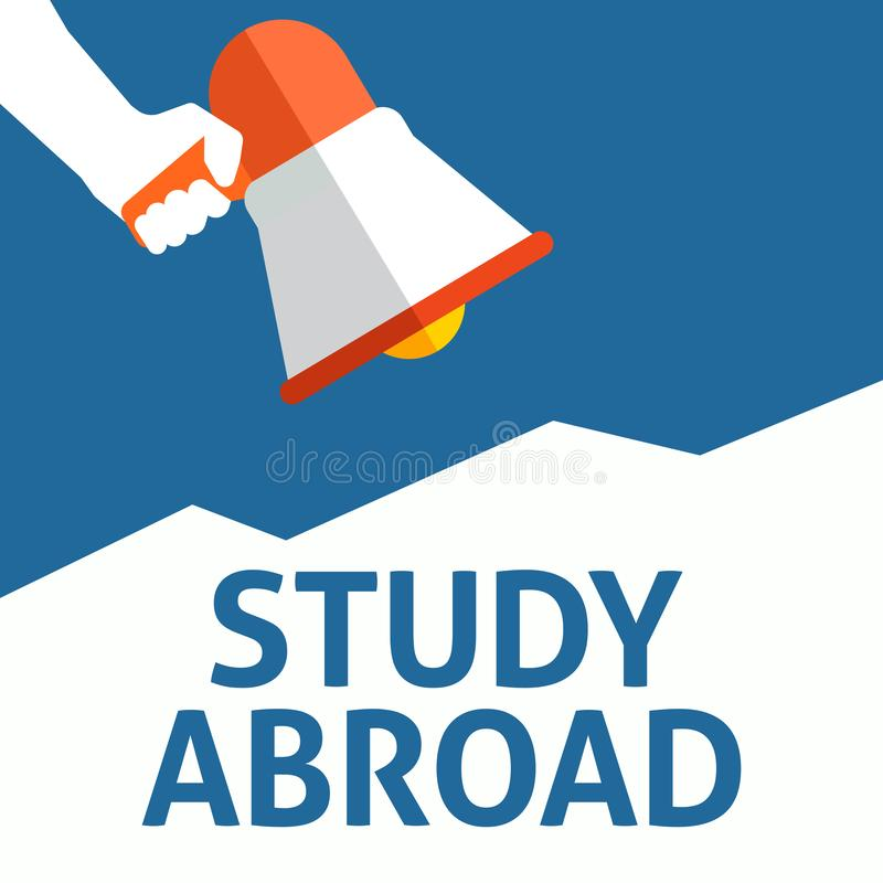 Hand Holding Megaphone With STUDY ABROAD Announcement vector illustration