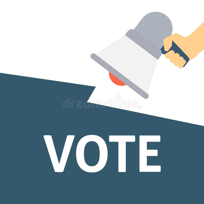 Hand Holding Megaphone With VOTE Announcement stock illustration