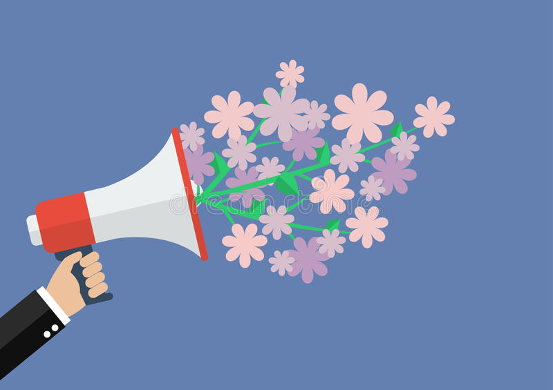 Hand holding megaphone with word special offer royalty free illustration