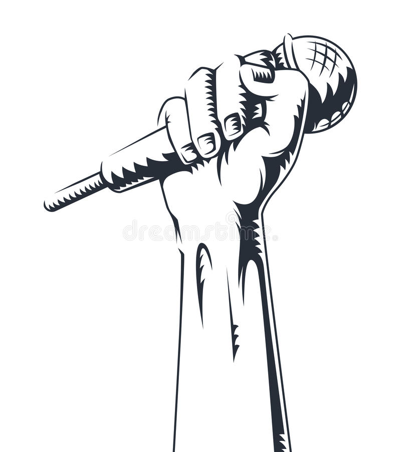 Hand holding a microphone in a fist. vector illustration. Contour hand icon with microphone. Hand holding a microphone in a fist. vector illustration. Contour vector illustration