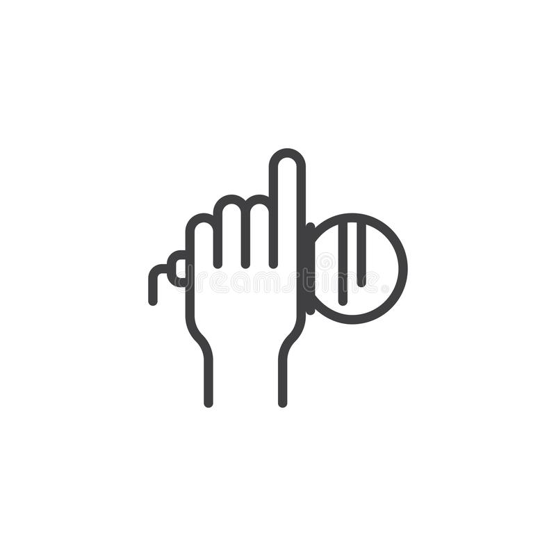 Hand holding a microphone outline icon stock illustration