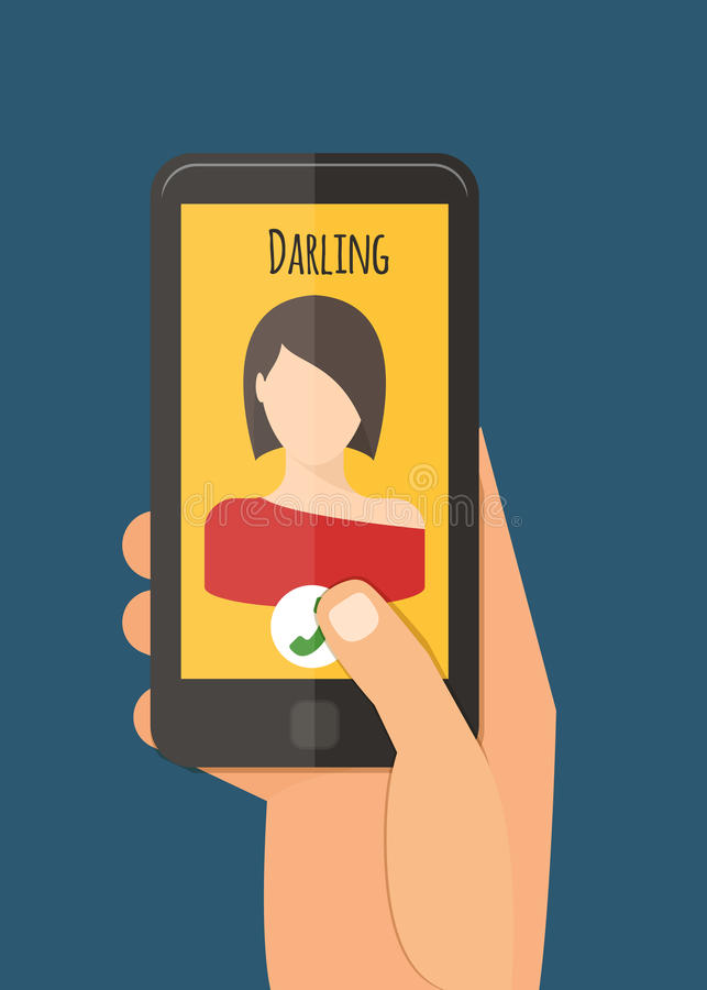Hand holding mobile, calling girlfriend. Mobile royalty free illustration
