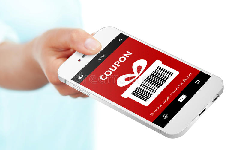 Hand holding mobile phone with christmas coupon over white royalty free stock photo
