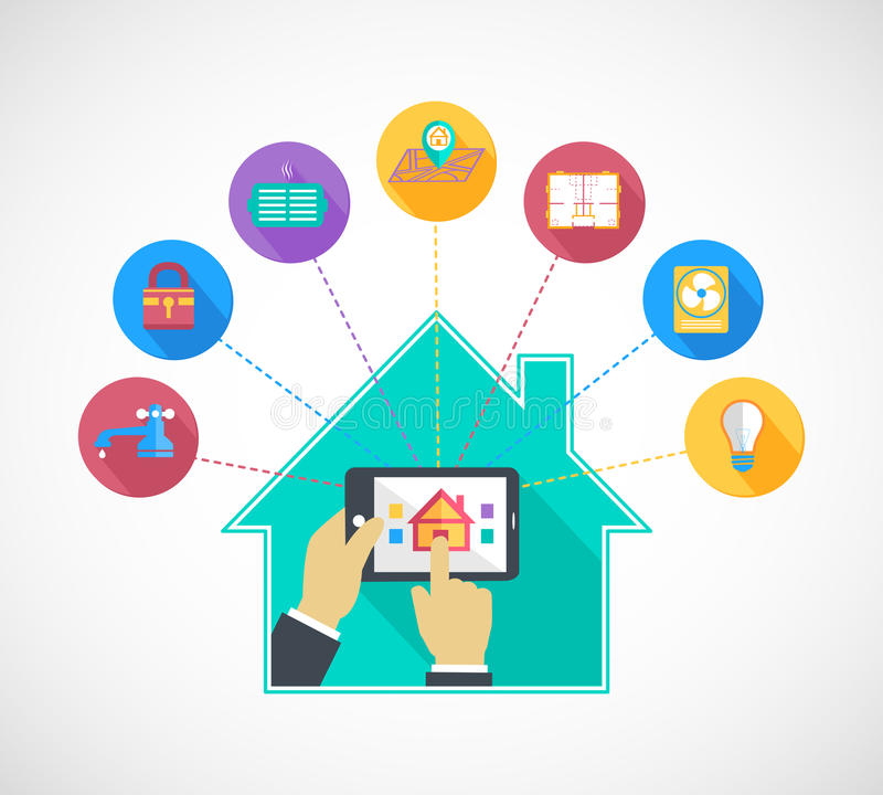 Hand holding mobile phone controls smart home royalty free illustration