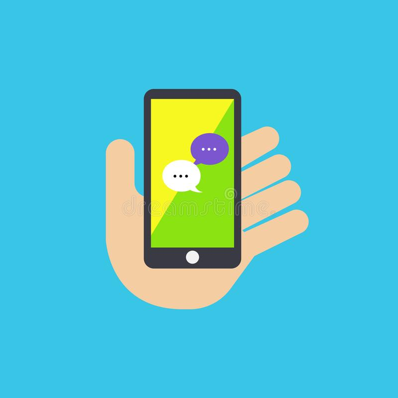 Hand holding mobile phone with message application vector. Illustration on blue background.Flat hand with phone vector illustration