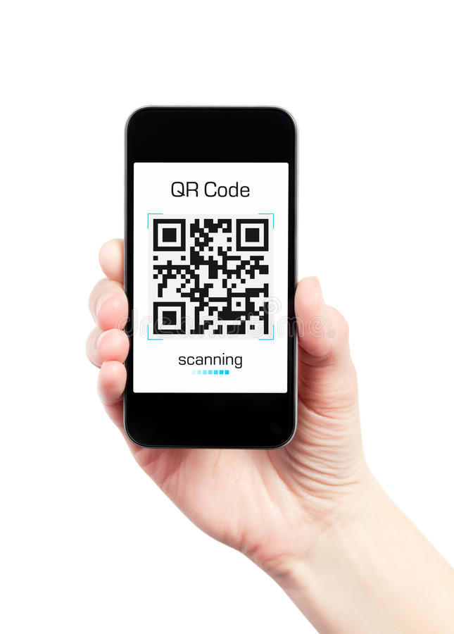Hand Holding Mobile Phone With QR Code Scanner. Hand holding mobile smart phone with QR code scanner on the screen. Isolated on white stock photo