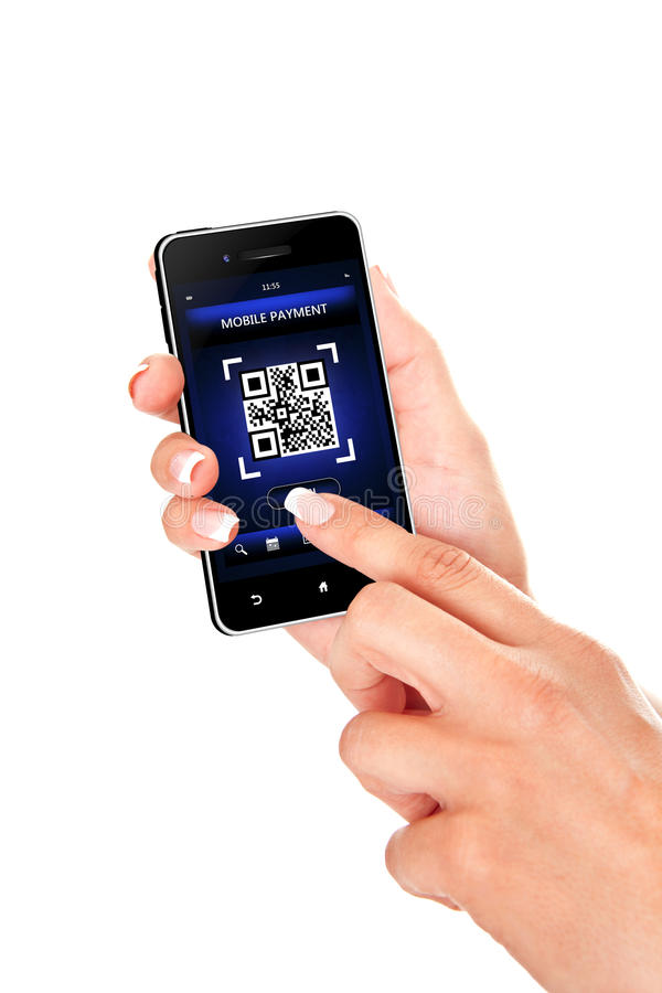 Hand holding mobile phone with qr code screen isolated over whit royalty free stock image