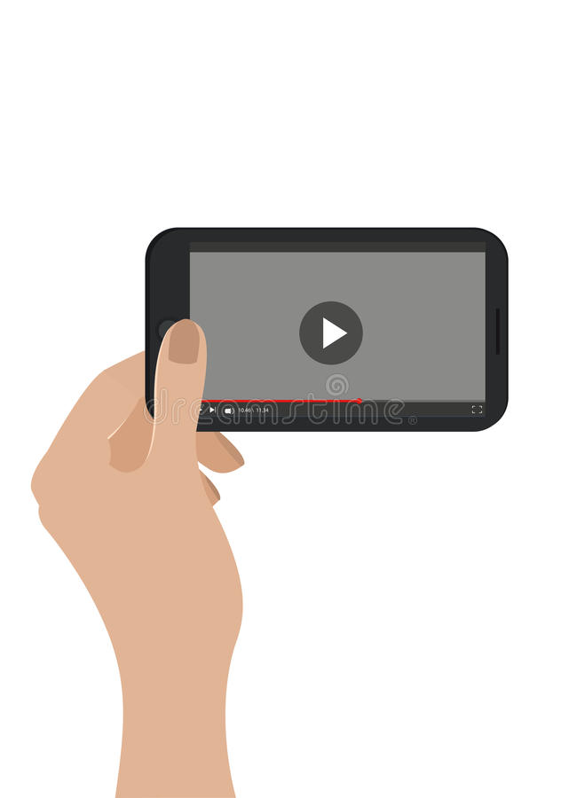 Hand holding mobile phone. Vector. Isolated on white. Video player concept. royalty free illustration