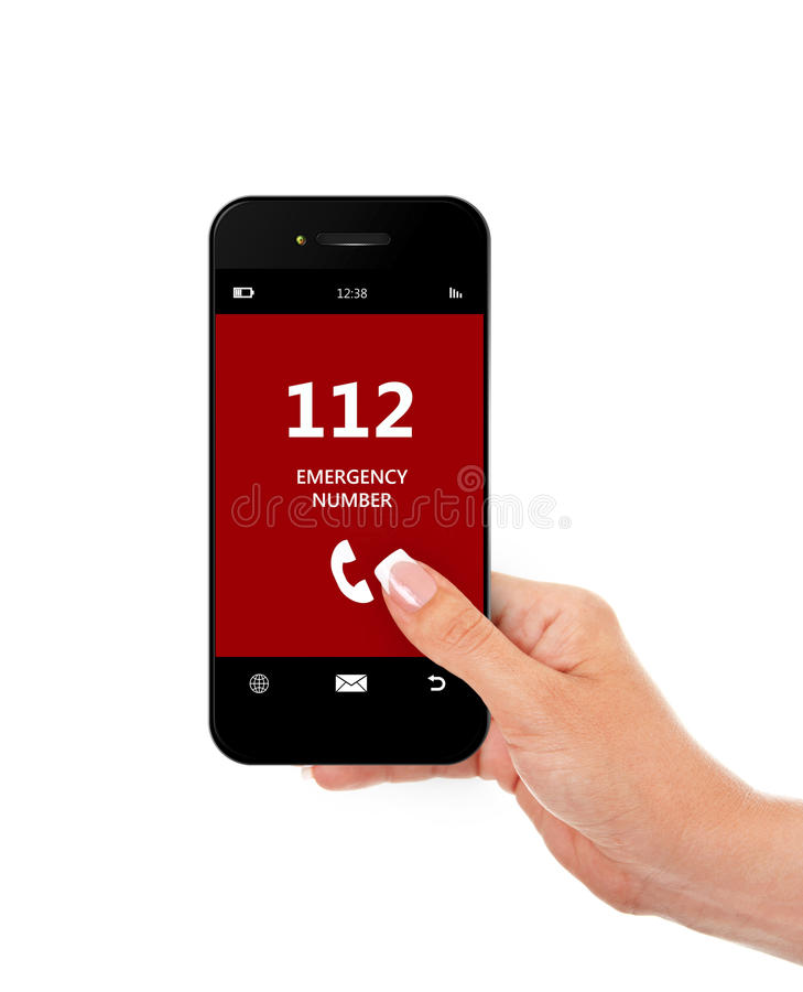 Free Hand Holding Mobile Phone With Emergency Number 112 Isolated Over White Stock Photo - 51126530