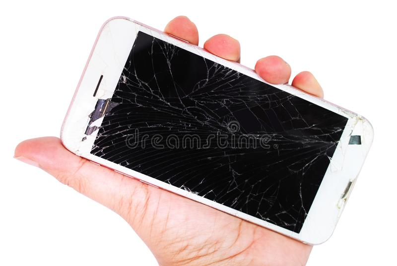 Smartphone cracked and broken screen royalty free stock photo