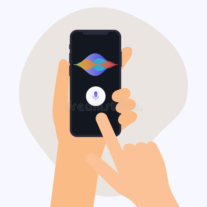 Hand holding mobile smart phone with digital voice assistant. Fl. At design modern vector illustration concept vector illustration