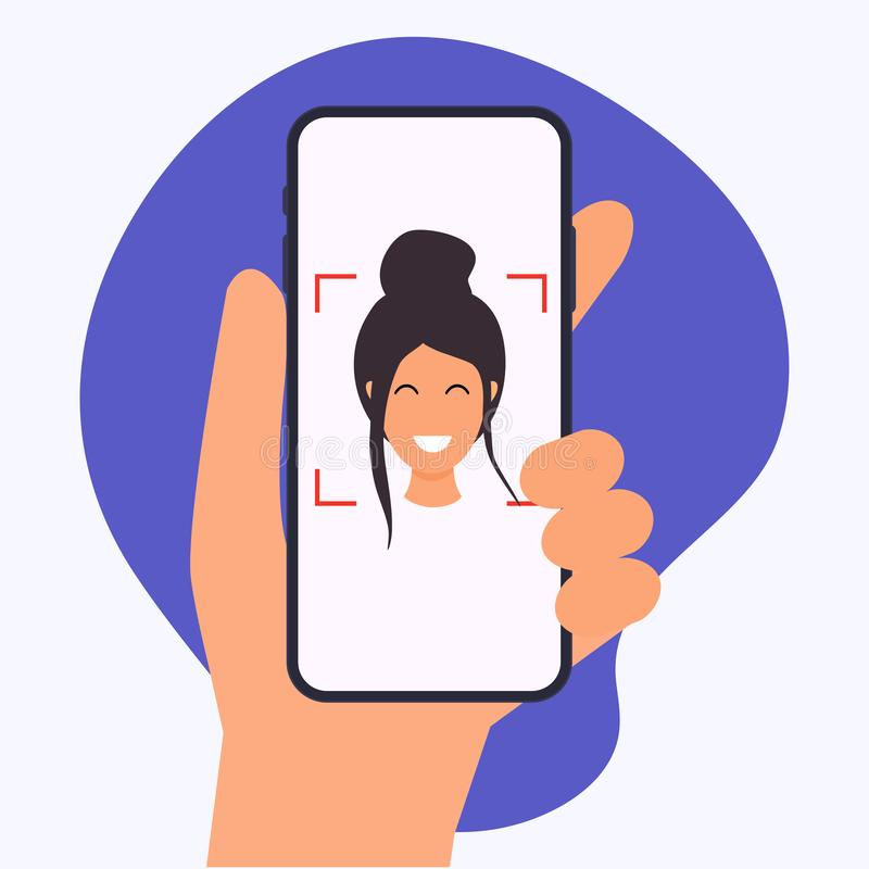 Hand holding mobile smart phone with face recognition app. Vector modern flat creative info graphics design on application.  vector illustration