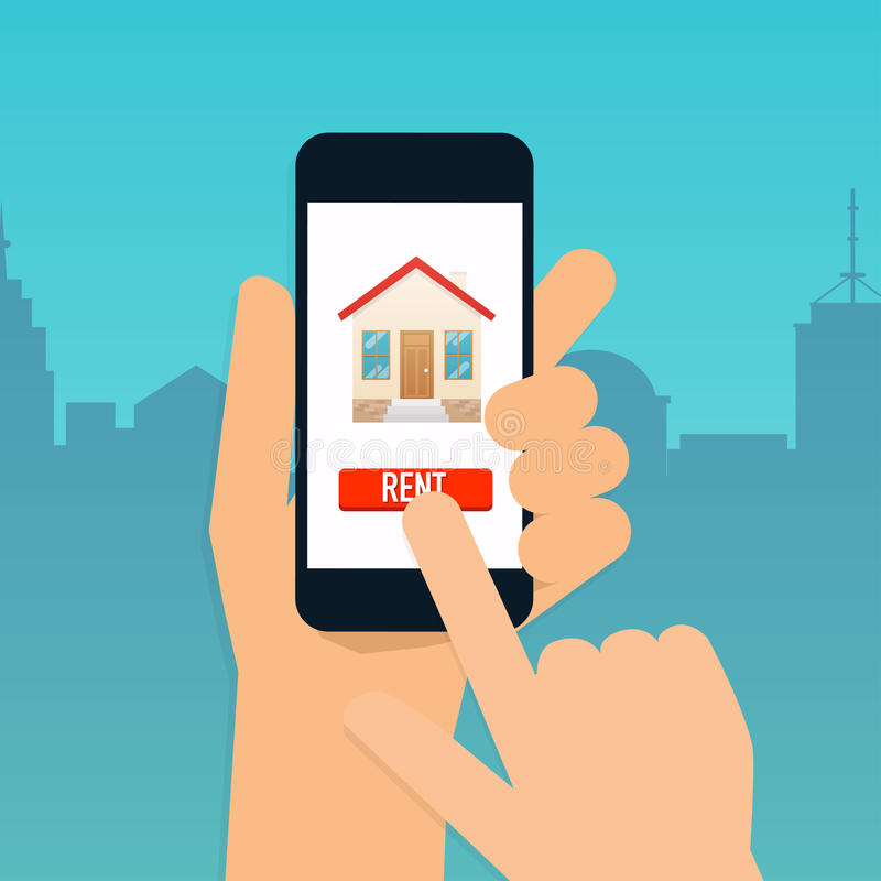 Hand holding mobile smart phone with rent apartments app. Offer. Of purchase house, rental of Real Estate. Flat design modern vector illustration concept royalty free illustration