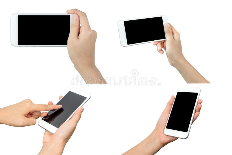Hand holding mobile smart phone stock photos