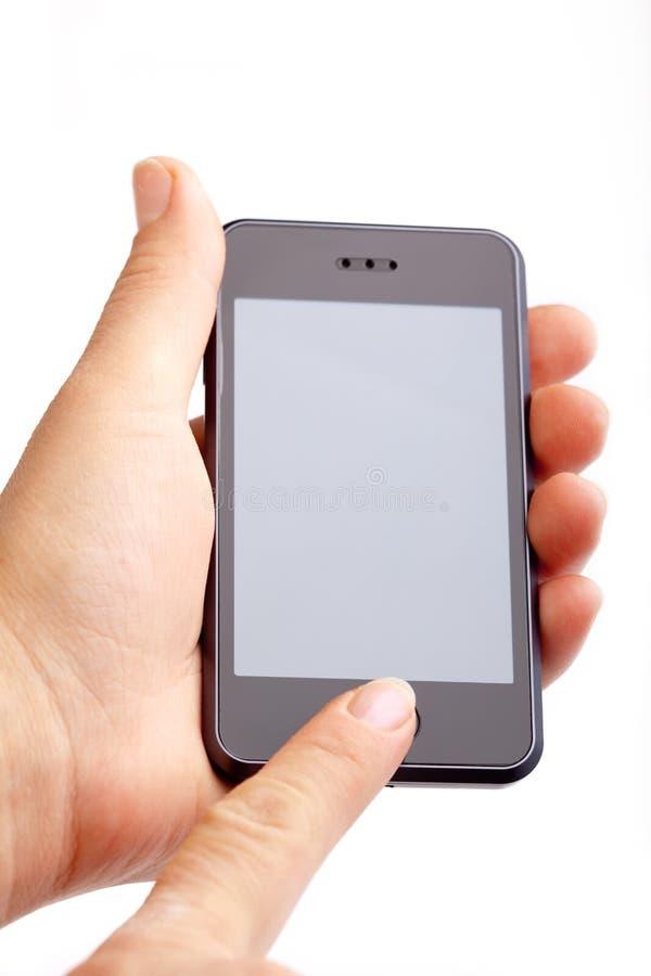 Hand holding modern smart phone