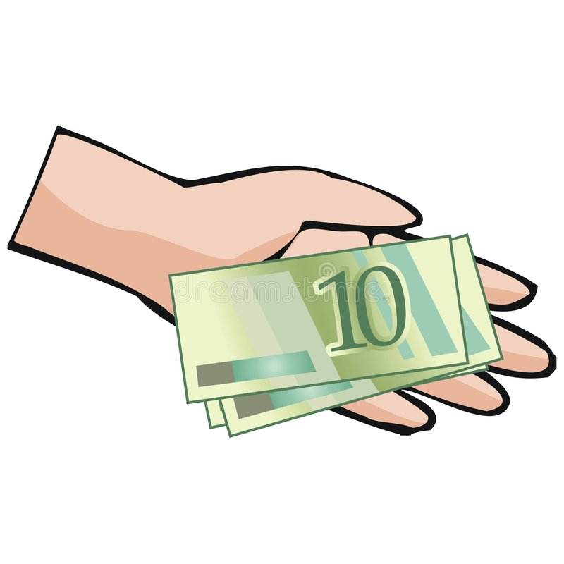 Hand holding money vector illustration