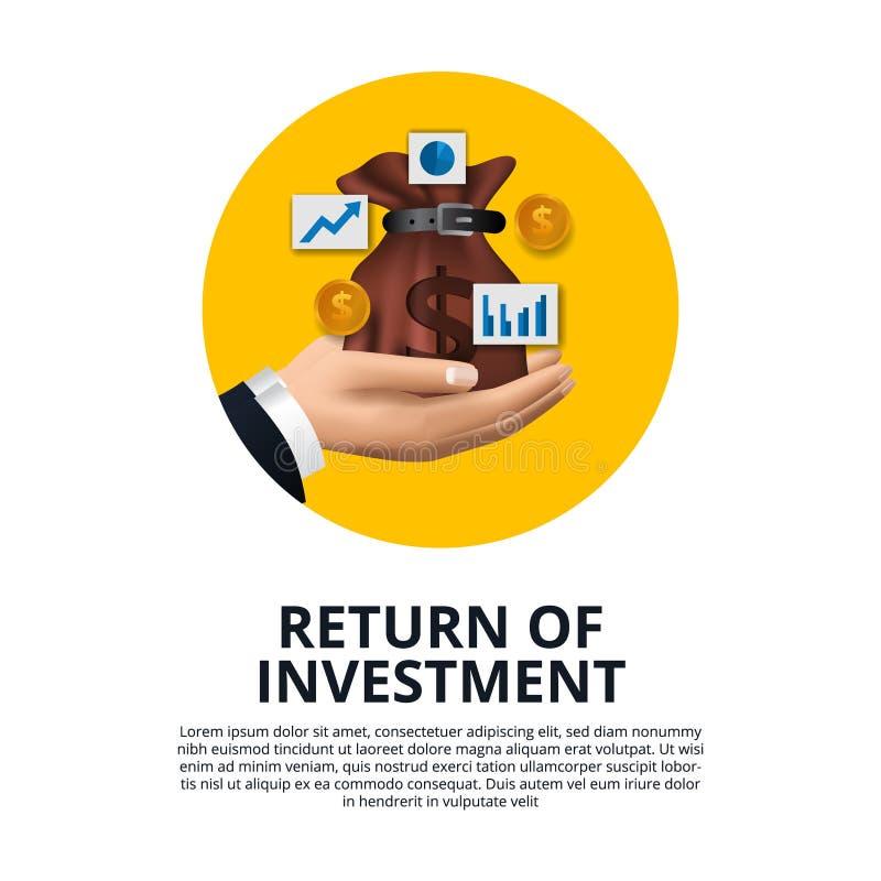 Hand holding money bag golden coin, chart, arrow growth return of investment ROI stock illustration