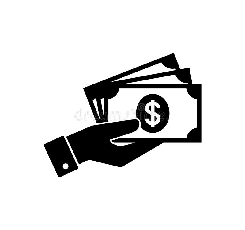 Hand holding money. Hand with banknotes. Cash payment icon. stock illustration