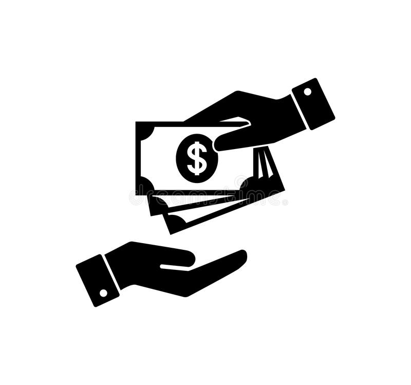 Hand holding money. Hand with banknotes. Cash payment and receiving money icon. stock illustration