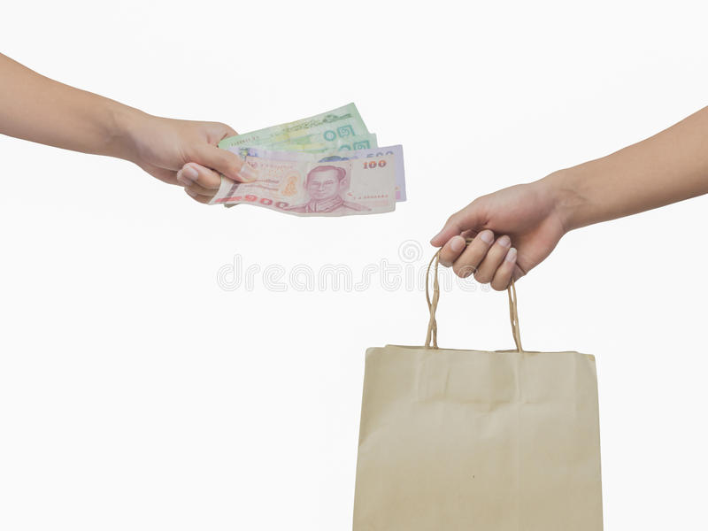 Hand holding money and shopping bag stock photos