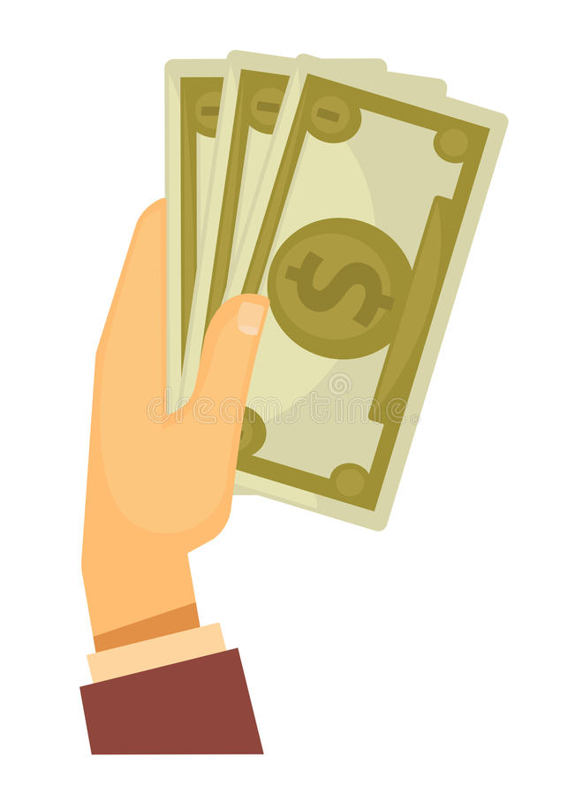 Hand holding money vector illustration. Isolated on white stock illustration
