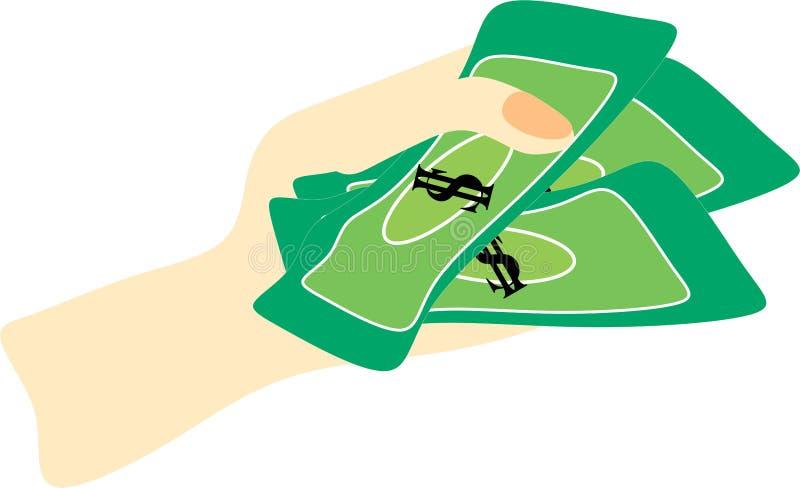 Hand holding money vector 2222. Hand holding money vector use to finance or economic theme stock illustration